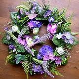LANDHAUSKRANZ TÜRKRANZ DEKOKRANZ RANUNKELKRANZ violett ca. 28 cm schönes Geburtstagsgeschenk