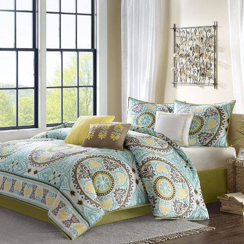 Teal, Brown and Yellow Floral Bedding