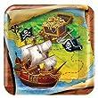 8 Assiettes Iles Aux Tr�sors Pirate - 18 cm - Anniversaire Enfant Pirate