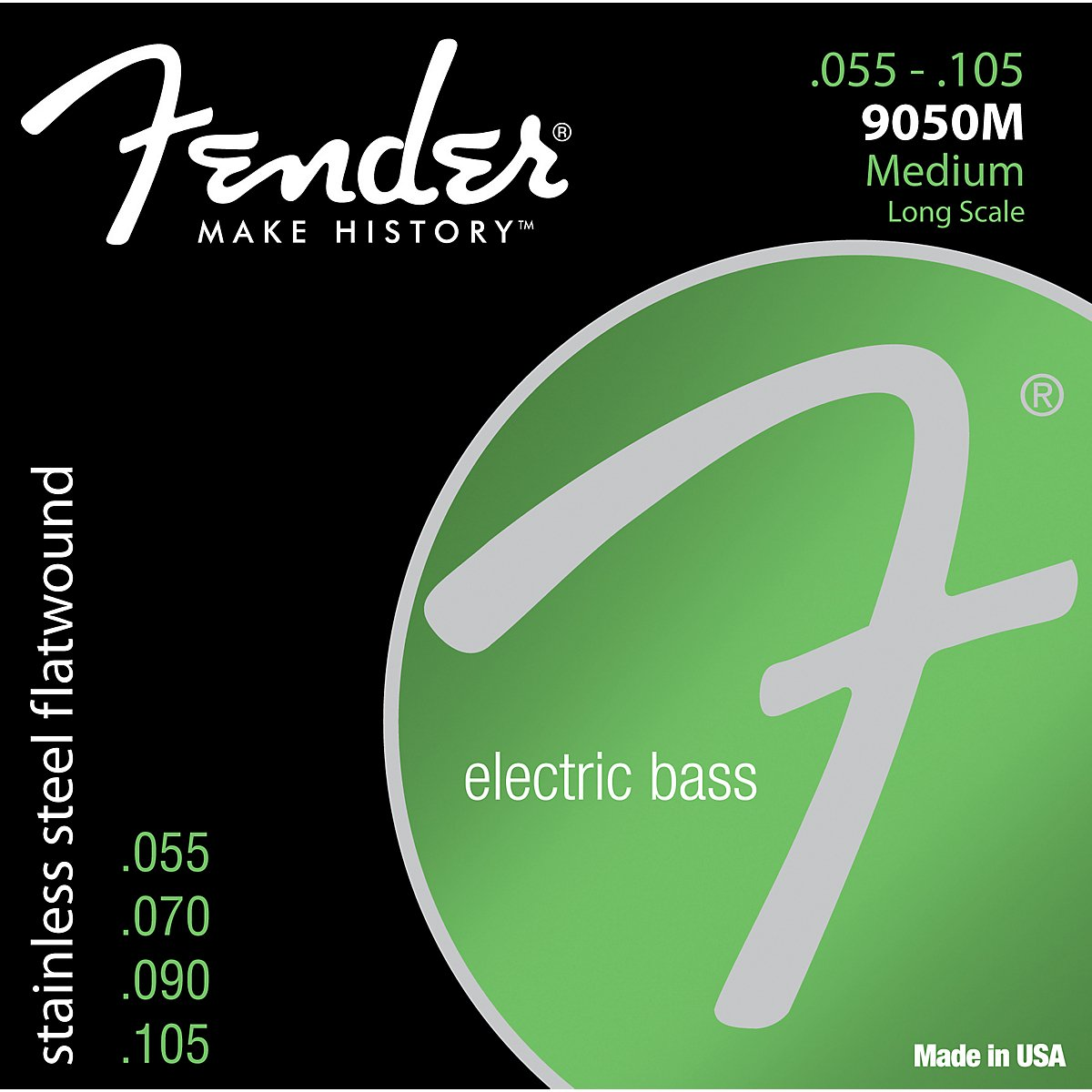 Fender 9050L Stainless Steel Flatwound Long Scale Electric Bass Guitar Strings - Light