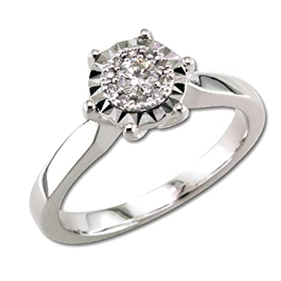White Gold Diamond Ring with 11 Brilliants Posh Diamonds 0 . 585 16ct in Total. Size 58 in