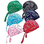6 Assorted Designs Skull Caps Paisley...