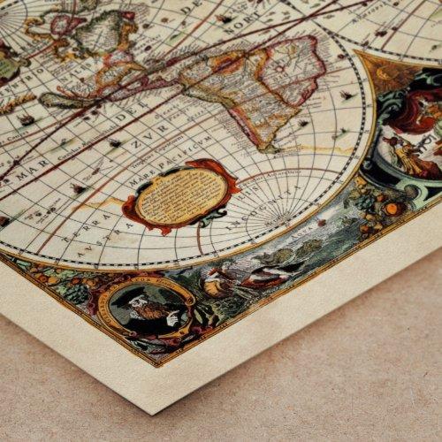 Poster tela canvas antica mappa 1646 mondo world for Arredamento artistico