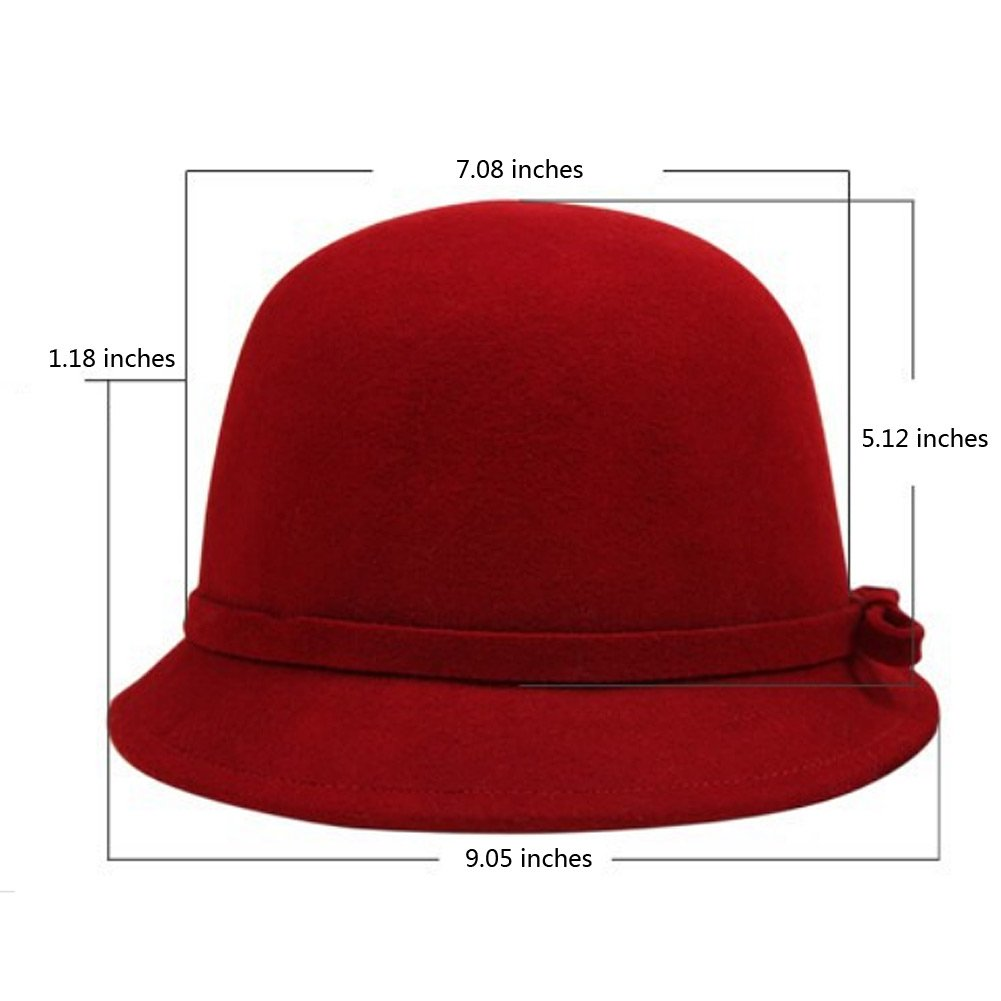 Vbiger Fashion New Women Vintage Wool Round Fedora Cloche Cap Wool Felt Bowler Hat 1