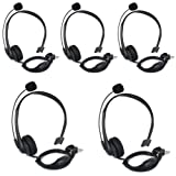 KENMAX 2 Pin Noise Cancelling Overhead Earpiece Headset with Boom Mic for Two Way Radio Kenwood Baofeng Wouxun Linton Puxing Weierwei Quansheng HYT TYT Radio (5 PACKS) (Color: Pack of 5)