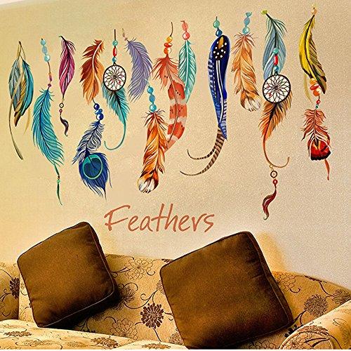 Mai Love® Creative Colorful Dream Catcher piuma in vinile adesivo parete Home Decor
