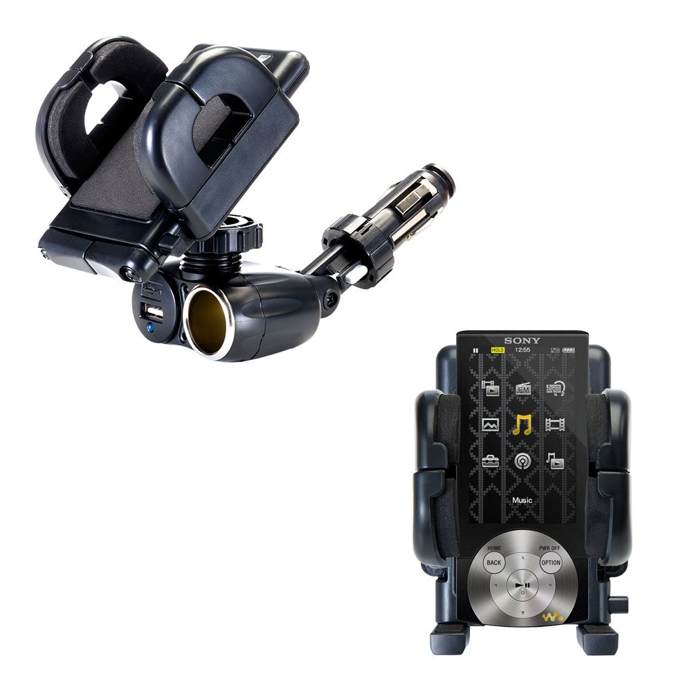 2 in 1 USB Port and 12V Receptacle Mount Holder for the Sony Walkman NWZ-A845B Keeps Your Device Secure in Any Car or Truck sony nwz b152
