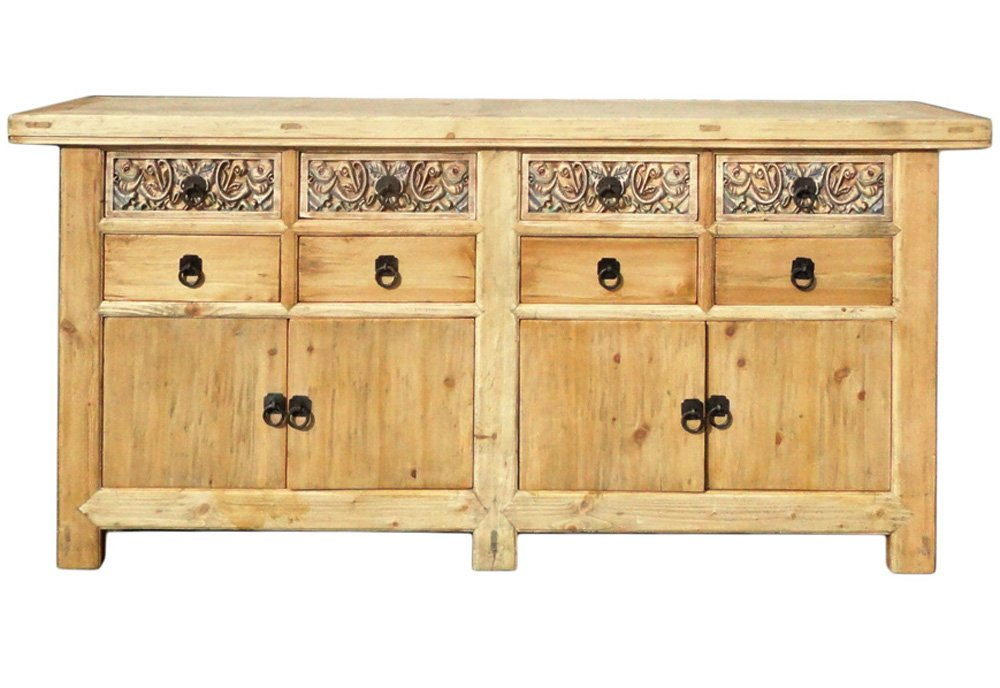 Chinese Vintage Natural Finish Carving Sideboard Buffet Cabinet Acs1147 6