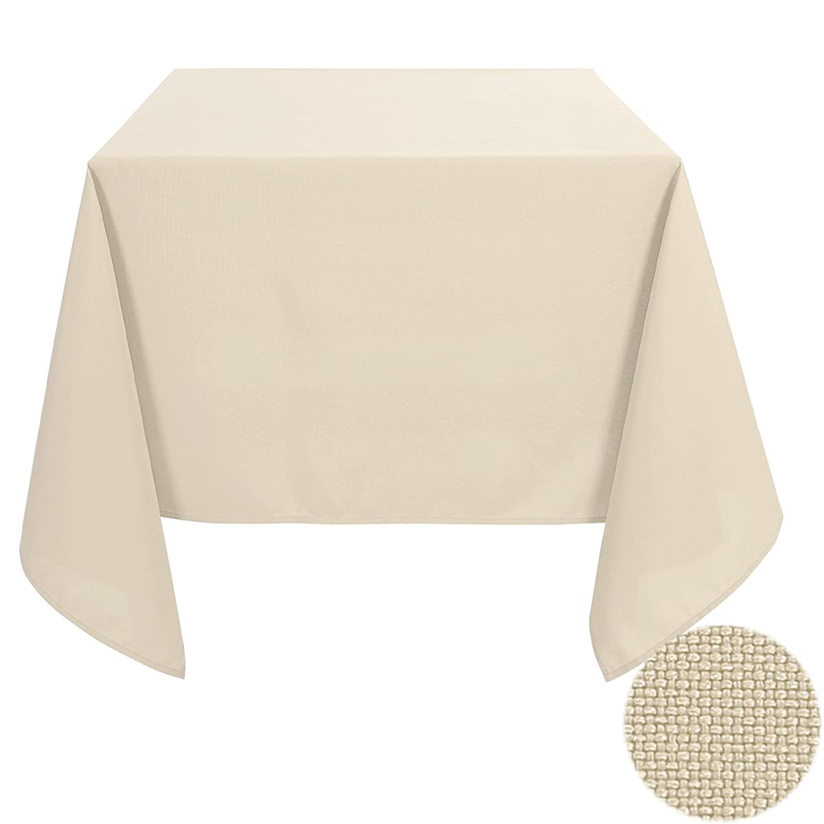 Deconovo Solid Oxford Square Waterproof Stain Free Tablecloth For Dining Room 70 by 70 Inch Butter Yellow