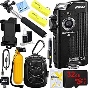 Nikon KeyMission 80 Waterproof HD Wearable WiFi Action Camera with 32GB Mobile Pro Accessory Bundle