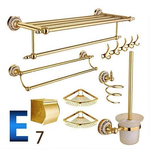 Bathroom In stile europeo, asciugamani portasciugamani Rack tutto il rame ripiani bagno oro antico ripiani Bagno Hardware Set a sospensione ( colore : 17# )