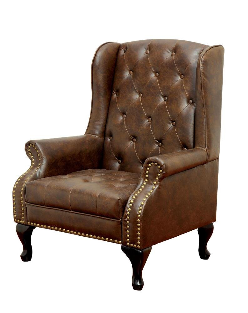FA Furnishing Daplyn Button Tufted, Nailhead Trim Wingback Chair in Rustic Brown Leather