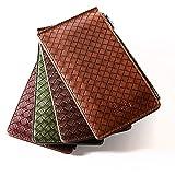 Besobeso(ベソベソ) レザー 編み込み 二つ折り 長財布 メッシュ 仕様 メンズ レディース 男女兼用 選べる4色 カード16枚収納
