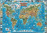 Children's Map of the World Educational Poster Laminated Poster 54 x 38in