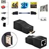 HDMI Extender, 30m HDMI to RJ45 Network Cable Extender Converter Adapter Extender Splitter Repeater Transmitter Receiver by Cat 5e Cat 6 1080P for HDTV HDPC PS4 STB 4K 2K [ Support HDCP ] (Color: Black)