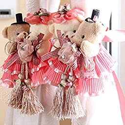 Ougar8 Cute Curtain Holdback Rose Love Teddy Bear Cartoon Tie Back Hook Hanging Buckle For home decoration, Wedding room,Gift for daughter,Little Girl Toy(1 Pair) (Pink)