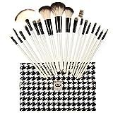 Hsg Makeup Brush Cosmetic Brush Kit Professional Makeup Brush Tools Set(18 Pieces White Brushes And Swallow Gird Bag)