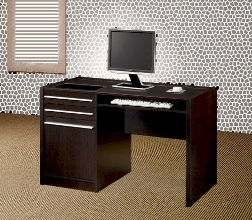 Buy Low Price Comfortable Modern Office Desk With Drawers And Built In Power Strip For Computer In Cappuccino Finish. (Item# Vista Furniture CF800702) (B004YMW5WG)