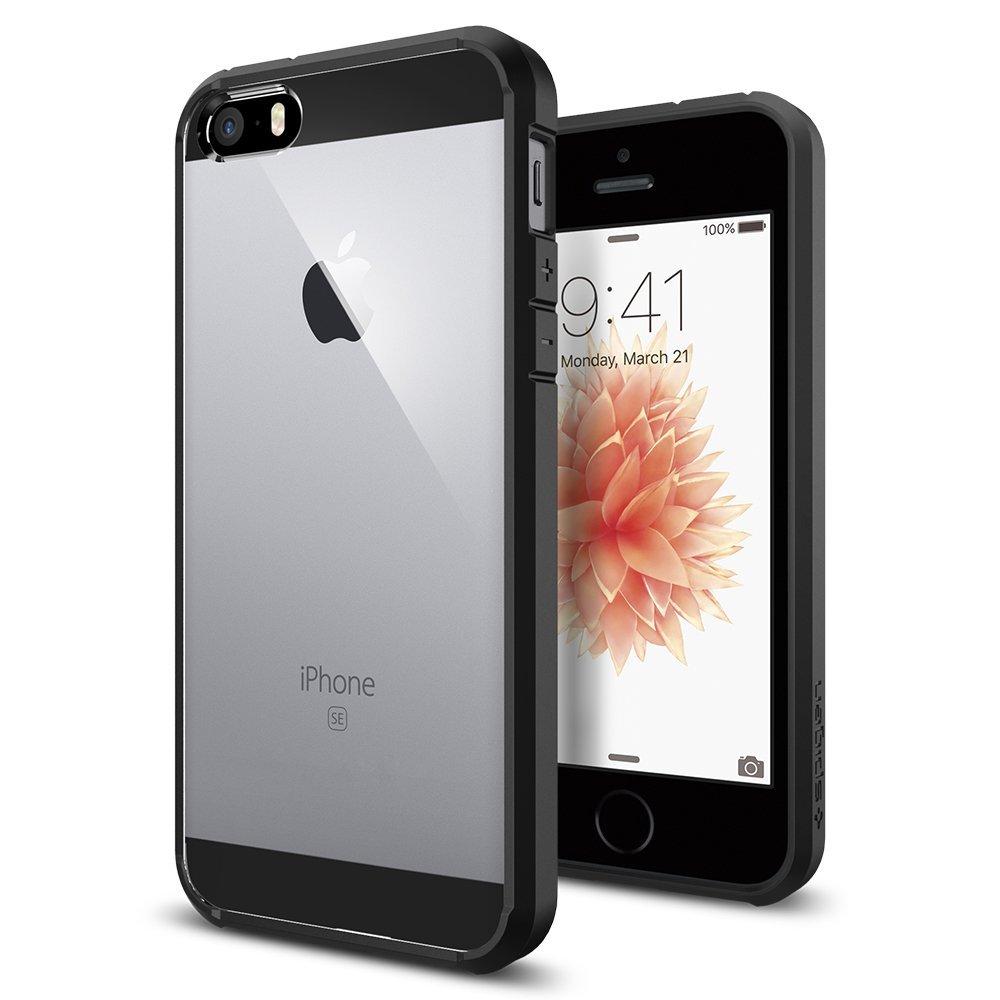 【Spigen】 iPhone SE ケース, ウルトラ・ハイブリッド [ 米軍MIL規格取得 落下 衝撃吸収 ] [ クリア バンパー ] アイフォン se / 5s / 5 用 カバー (ブラック)