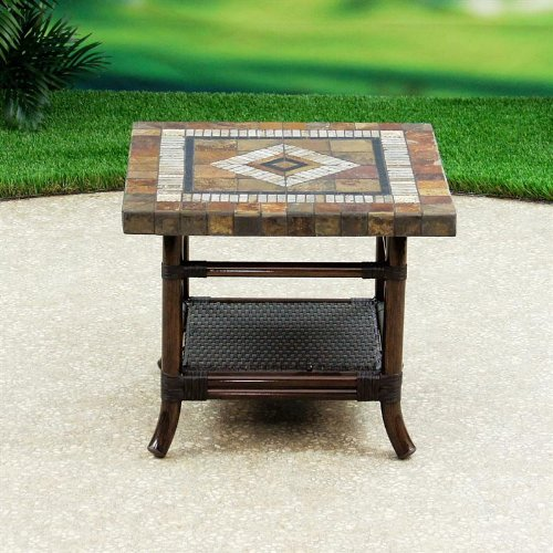 Cheap Flint Hills Living Tallgrass Aluminum/Woven Stone Top Patio End Table (00KA0FHLK006)