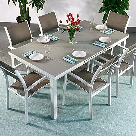 Beatrice Tisch & 6 Stuhle - WEIß & CHAMPAGNERFARBEN | Gartenmöbel-Set mit ausziehbarem 240cm Tisch
