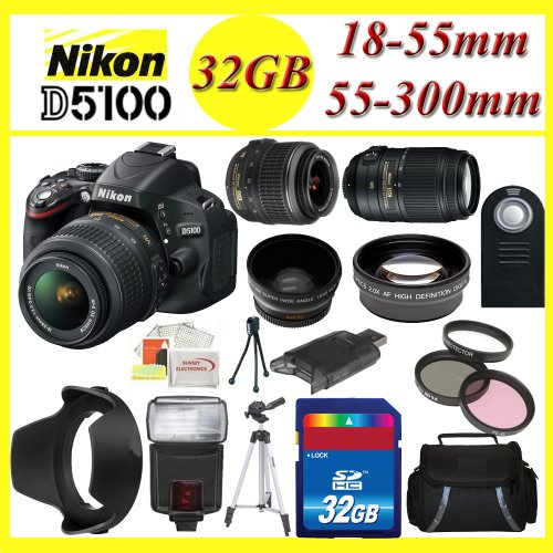 Nikon D5100 Digital SLR Camera with Nikon 18-55mm f/3.5-5.6G VR AF-S DX Nikkor Lens and Nikon AF-S NIKKOR 55-300mm f/4.5-5.6G ED VR Zoom Lens + 3 Extra Lens + 32GB SDHC Memory Card & More !!