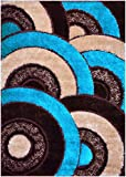 "Royal Collection Turquoise Blue Brown Abstract Contemporary Design Shaggy Area Rug (6056) (4'5""x6'7"")"