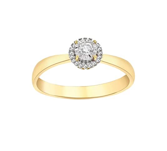 Pave Prive Women's 9ct Yellow Gold Round White Diamonds Circle Ring - Size N
