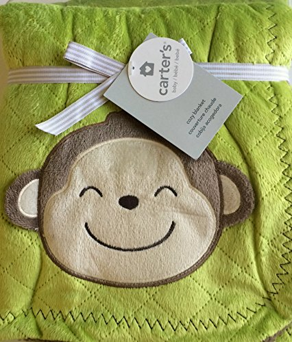 Carters Infants Green Monkey Cozy Blanket