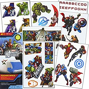 Marvel avengers stickers 110 removable avengers wall for Avengers wall mural amazon