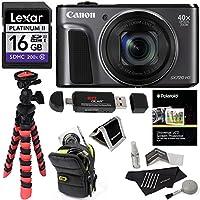 Canon PowerShot SX720 HS (Black) Camera, Camera Case, Lexar 16GB UHS, Memory Card Wallet, Ritz Gear Tripod, Cleaning Kit, Card Reader / Writer, Polaroid Screen Protector & Accessory Bundle