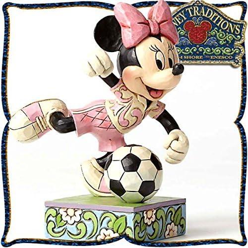 디즈니・tradition 『Minnie Soccer』 미니 마우스 축구 레진제 목각조 피규어-