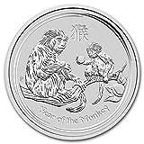 2016年 オーストラリア ・干支・猿年・モンキー・1/2オンス 銀貨 15.5g シルバー コイン 純銀 高級アクリルカプセル・クリアーケース付き