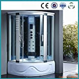 Bath-Masters-8002-A-Spa-Steam-Shower-Enclosure-unit-with-3kw-steam-generator-Sauna-Hydro-Massage-Tub-6-Body-Massage-Jets-Acupuncture-Massage-Chromatherapy-Lighting-Aromatherapy-Overhead-Rainfall-Showe