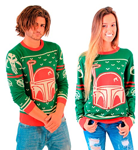 Star Wars Boba Fett Unisex Green Ugly Christmas Sweater (Adult Small)