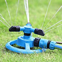 Generic 360 Degree Fully Circle Rotating Water Sprinkler 3 Nozzles Garden Pipe Hose Irrigation