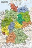 Poster Deutschland Karte - preiswertes Plakat, XXL Wandposter im Format 61 x 91.5 cm