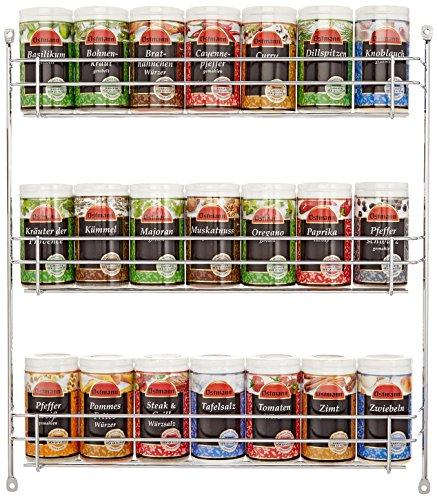 Image of Ostmann Chrom-Gewürzregal gefüllt mit 21 Gewürzdosen, 1er Pack