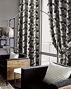 Genesis Silver Chenille Jacquard 66x54 Ring Top Eyelet Lined Curtains #nede *as* by Curtains