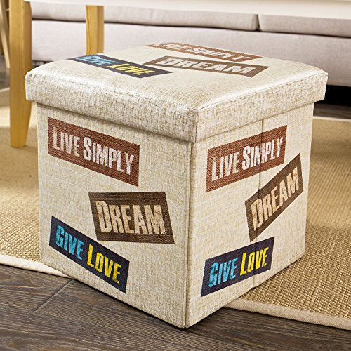 SoBuy FSS35-K Coffre de Rangement Cube Pouf Dé Pliable Tabouret Boîte Assise Rembourrée Repose-Pieds Panier à Linge 38x38x38cm
