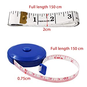 Pengxiaomei Measuring Tape, 2 Pack Soft Tape Measure for Body Sewing Cloth Craft Measurements Included Soft Tape Measure&Retractable Measuring Tape (Color: blue,white)