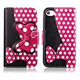 Fashion Youth Series Cute Design Black Pink Bow Bowknot Wallet Flip Case Folio PU Leather Stand Cover with Card Slots for Apple iPhone 4 4S + Free Lovely Gift