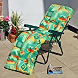 Replacement Garden Lounger Luxury Cushion - Mexicana Green