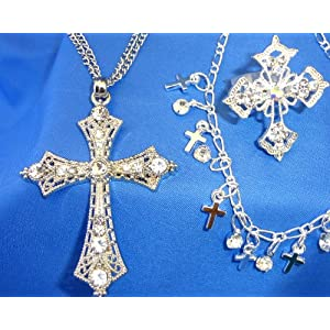 Religious Gift Set of Rhinestone Cross Necklace, Ring & Anklet
