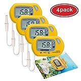 AUTIDEFY LCD Digital Aquarium Thermometer Fish Tank Water Terrarium Temperature (4 Pack) (Color: 4 Pack)