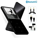 MP3 Player - [2019 May Newest Model] Bluetooth 4.2 Thin Body 2.4'' TFT & 2.4D Sides Curved Large Screen Player Built-in Speaker, with FM & Voice Recorder, Expandable 128GB TF Card, H6-Black (Color: H6Black)