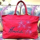hauoli ハワイアン 刺繍 ZIPトートバッグ 「ホノルル」 キャンバスバッグ