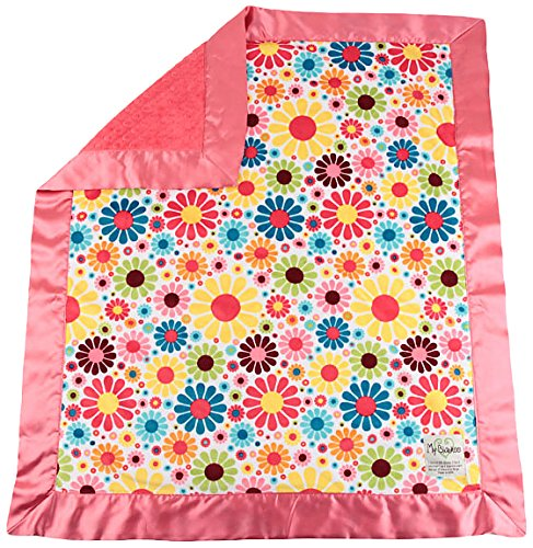 "My Blankee Flower Child Minky White w/ Minky Dot Watermelon Baby Blanket, 30"" x 35"""