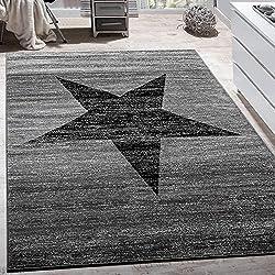 Designer Teppich Stern Muster Modern Trendig Kurzflor Meliert In Grau Schwarz, Grösse:200x280 cm