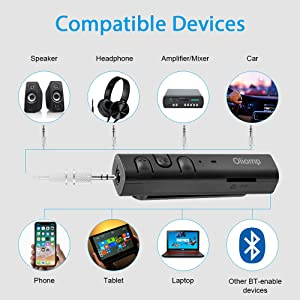 Bluetooth Receiver,Oliomp Bluetooth Car Aux Adapter Receiver with TF Card Slot,Portable Hands-Free 3.5mm Headphone Jack Bluetooth Adapter for Home Audio Music Car Stereo System (Black) (Color: Black)